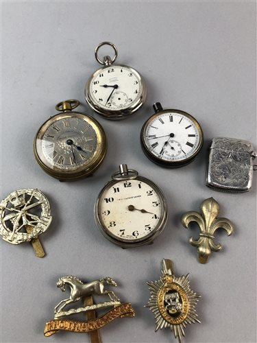Lot 8-A SILVER VESTA CASE, BADGES AND SIX POCKET WATCHES