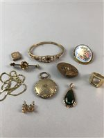 Lot 13-A PAIR OF GEM SET EARRINGS AND OTHER JEWELLERY