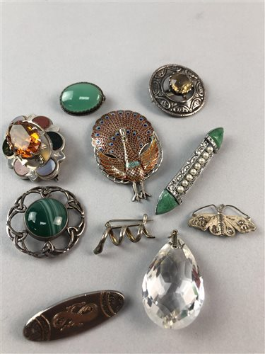 Lot 18-AN ENAMEL PEACOCK MOTIF BROOCH AND OTHER COSTUME JEWELLERY