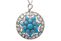 Lot 20-A TURQUOISE AND DIAMOND SET PENDANT