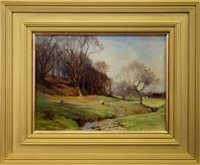 Lot 500-SHEEP GRAZING, AN OIL BY ROBERT RUSSELL MACNEE