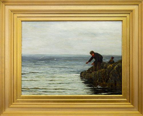 Lot 420-BOY FISHING, AN OIL BY JOSEPH HENDERSON