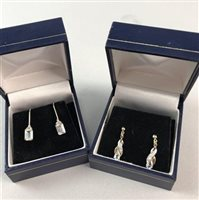 Lot 1-A LOT OF TWO PAIRS OF BLUE GEM SET EARRINGS