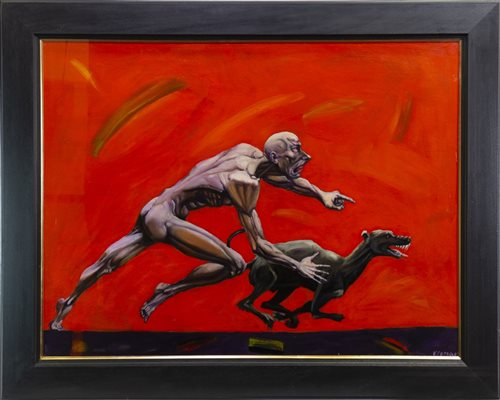 Lot 512 - DEVIL DOG, AN OIL BY VALENTIN PETROV