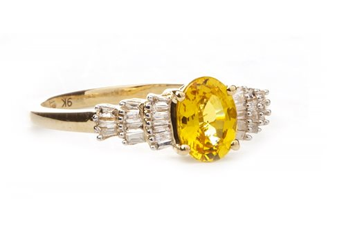 Lot 170-A YELLOW SAPPHIRE AND DIAMOND RING