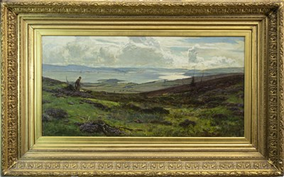 Lot 420-LANDSCAPE WITH MAN AND DOG, BY SIR DAVID MURRAY