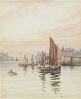 Lot 406-A PAIR OF WATERCOLOURS DEPICTING BOATS IN HARBOUR