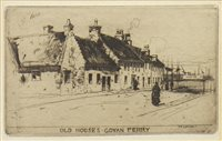 Lot 412-OLD HOUSES, GOVAN FERRY, AN ETCHING BY SIR DAVID YOUNG CAMERON