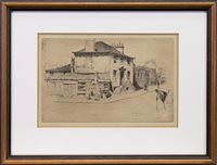 Lot 413-GLASGOW STREET SCENE, A DRYPOINT BY SIR DAVID YOUNG CAMERON