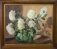 Lot 416-CHRYSANTHEMUMS IN A GREEN GLASS BOWL, A WATERCOLOUR BY LALIA DICKSON