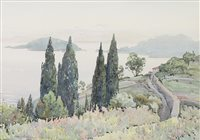 Lot 417-CYPRESSES, GULF OF SPEZIA, A WATERCOLOUR BY HELEN L COCHRANE