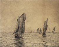 Lot 421-BOULOGNE FISHING BOATS, AN ETCHING BY WILLIAM LIONEL WYLLIE