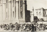 Lot 423-THE GOOSE FAIR, ALBI, AN ETCHING BY STANLEY ANDERSON