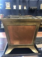 Lot 1610-AN ARTS & CRAFTS BRASS AND COPPER SQUARE TAPERING PLANT POT