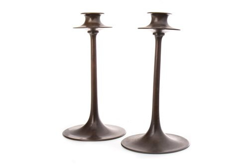 Lot 1612-A PAIR OF DRYAD LESTER BRONZE TABLE CANDLESTICKS
