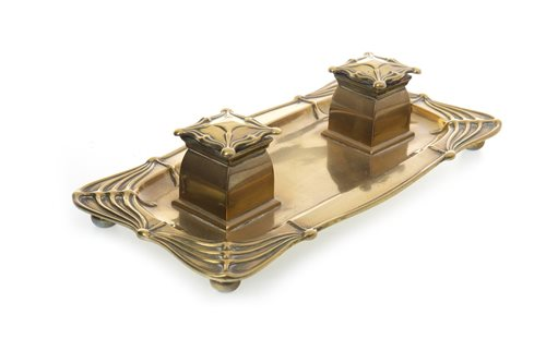 Lot 1613-AN ART NOUVEAU BRASS OBLONG INKSTAND
