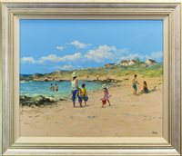 Lot 530-A DAY AT THE SEASIDE, AN OIL BY ALLAN NELSON