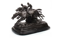 Lot 1619-A BRONZE FIGURE GROUP OF TWO JOCKEYS ON HORSEBACK
