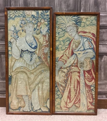 Lot 1620-A LOT OF TWO 17TH CENTURY DUTCH TAPESTRY FRAGMENTS