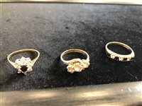 Lot 38-A DIAMOND AND SAPPHIRE FLOWER HEAD RING AND TWO OTHER RINGS
