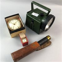 Lot 33-A BRASS POCKET TELESCOPE, A MILITARY TORCH AND TWO SMALL CLOCKS