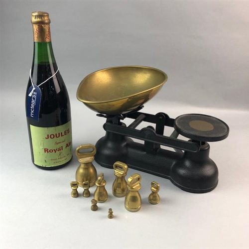 Lot 24-A VINTAGE BOTTLE OF JOULES SPECIAL ROYAL ALE AND A SET OF SALTER BRASS AND METAL SCALES