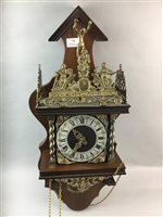 Lot 22-A REPRODUCTION BRASS MOUNTED WOOD WALL CLOCK AND AN OAK BAROMETER