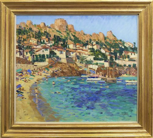 Lot 548 - ANTHÉOR CÔTE D'AZUR, AN OIL BY GEORGE DEVLIN