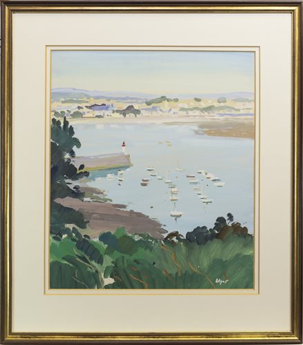 Lot 550-THE CLYDE FROM GOUROCK , AN OIL BY NORMAN EDGAR