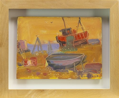 Lot 524 - BOATS AND FISHING GEAR, A MIXED MEDIA BY GLEN SCOULLER