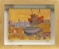 Lot 524-BOATS AND FISHING GEAR, A MIXED MEDIA BY GLEN SCOULLER