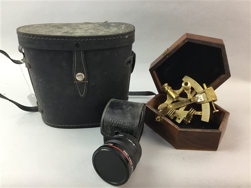 Lot 19-A NAVAL SEXTANT, A TELESCOPE, BINOCULARS AND CAMERA LENS