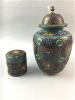 Lot 12-A CLOISONNÉ ENAMEL GINGER JAR AND ANOTHER