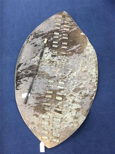 Lot 15-AN AFRICAN ANIMAL SKIN SHIELD AND SPEAR