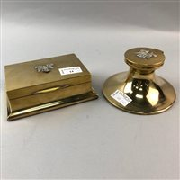 Lot 14-A REGIMENTAL BRASS INKWELL AND AN OBLONG CIGARETTE CASE