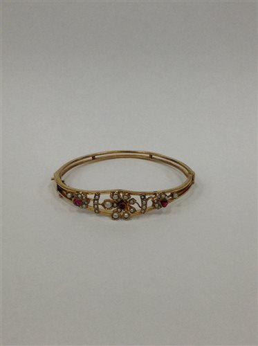 Lot 8-A SILVER BANGLE AND COSTUME JEWELLERY