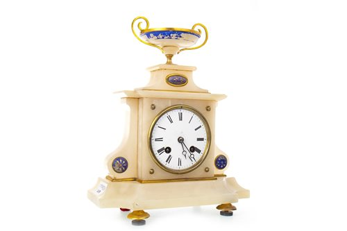 Lot 1438 - A FRENCH ALABASTER MANTEL CLOCK