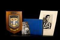 Lot 1918-TOMMY GEMMELL OF ST MIRREN F.C., A COMMEMORATIVE SHIELD AND PHOTOGRAPHS