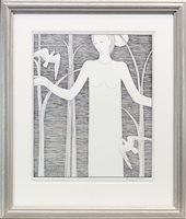 Lot 565-WOMAN WITH BIRDS, A LITHOGRAPH BY HANNAH FRANK