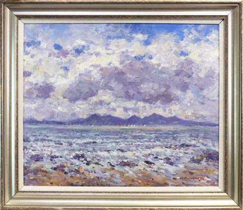 Lot 553 - ISLE OF ARRAN, AN OIL BY J D HENDERSON