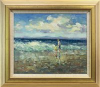Lot 555-PADDLING, NORTH BERWICK, AN OIL BY J D HENDERSON