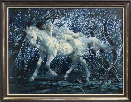 Lot 529-LADY ON WHITE HORSE. AN OIL