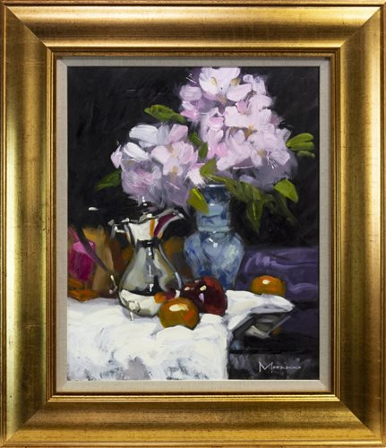 Lot 557 - RHODEDENDRONS AND SILVER POT, AN OIL BY JACK MORROCCO