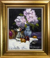 Lot 557-RHODEDENDRONS AND SILVER POT, AN OIL BY JACK MORROCCO