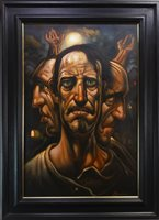 Lot 568 - THREE AGES, AN OIL BY PETER HOWSON
