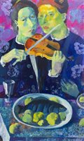 Lot 705 - MUSIC AND FOOD, AN OIL BY ANDREI BLUDOV