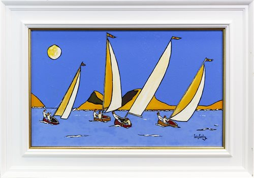 Lot 579 - FOUR SAILS LIKE BLADES CUT THROUGH THE SEASCAPE, AN OIL BY IAIN CARBY