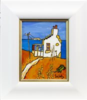 Lot 636 - THE OLD CROFT BY ARDNAMURCHAN, AN OIL BY IAIN CARBY