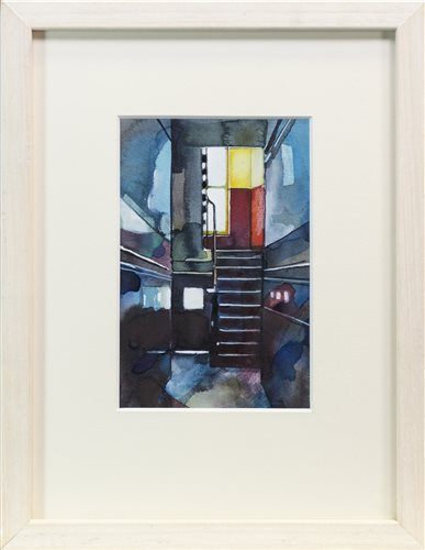 Lot 677 - SHADOWS IN RED, A WATERCOLOUR BY BRYAN EVANS
