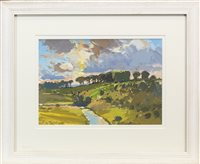 Lot 668 - RIVER AVON AT SUNSET, A GOUACHE BY DOUGLAS LENNOX